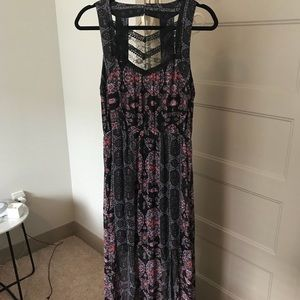Free People Black Patterned Maxi Dress